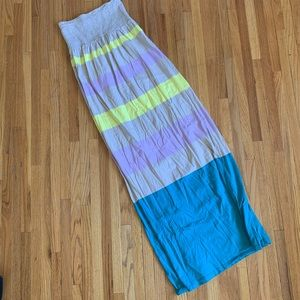 Fun Color blocked, strapless old navy maxi dress